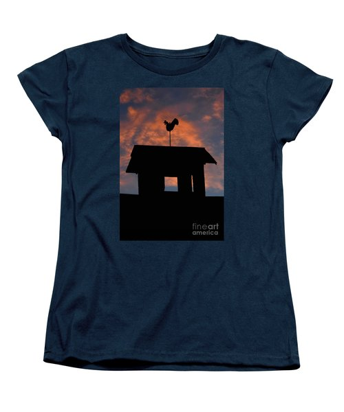 Rooster Weather Vane Silhouette Women's T-Shirt (Standard Cut) by Henry Kowalski