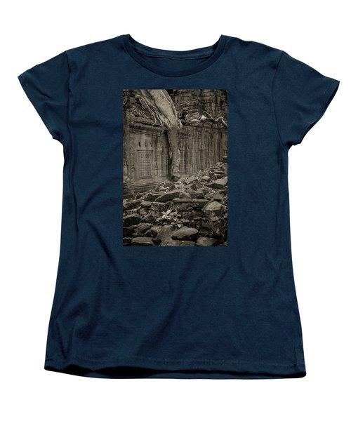 Women's T-Shirt (Standard Cut) featuring the photograph Roots In Ruins 6, Ta Prohm, 2014 by Hitendra SINKAR