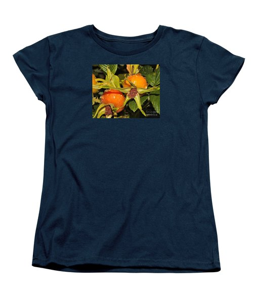Women's T-Shirt (Standard Cut) featuring the photograph Rose Hips by Debbie Stahre