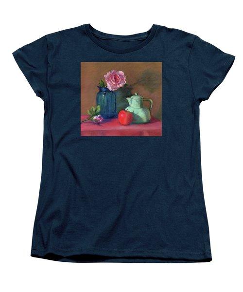 Rose In Blue Jar Women's T-Shirt (Standard Cut)