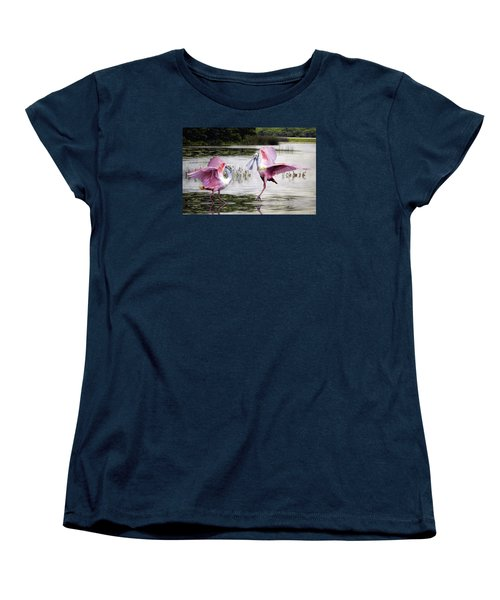 Women's T-Shirt (Standard Cut) featuring the photograph Roseate Spoonbills Sparring. by Brian Tarr