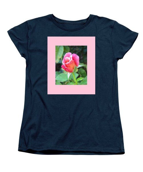 Rosebud With Border Women's T-Shirt (Standard Cut) by Mary Ellen Frazee