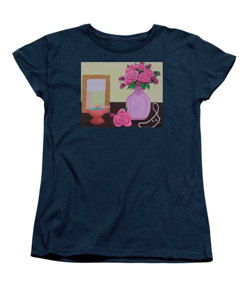 Roses And Pearls Women's T-Shirt (Standard Cut) by Hilda and Jose Garrancho