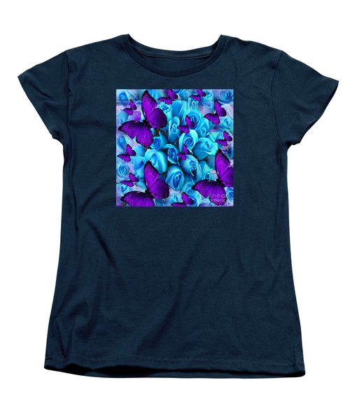 Roses And Purple Butterflies Women's T-Shirt (Standard Cut) by Saundra Myles