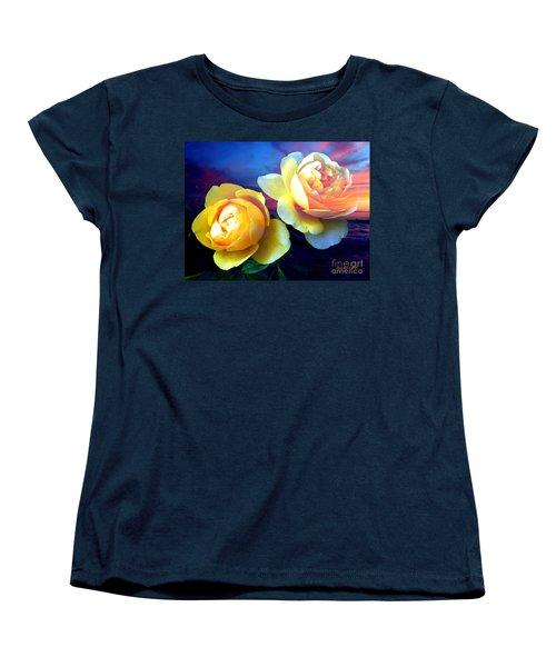 Roses Basking In A Ocean Sunset Women's T-Shirt (Standard Cut)