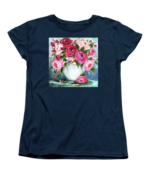Women's T-Shirt (Standard Cut) featuring the painting Roses In Vase by Jennifer Beaudet
