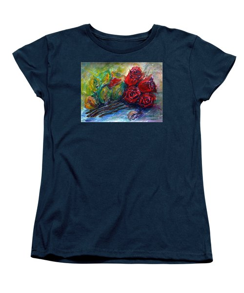 Women's T-Shirt (Standard Cut) featuring the painting Roses by Jasna Dragun