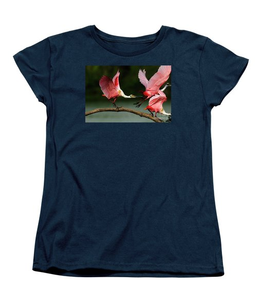 Rosiette Spoonbills Lord Of The Branch Women's T-Shirt (Standard Cut) by Bob Christopher