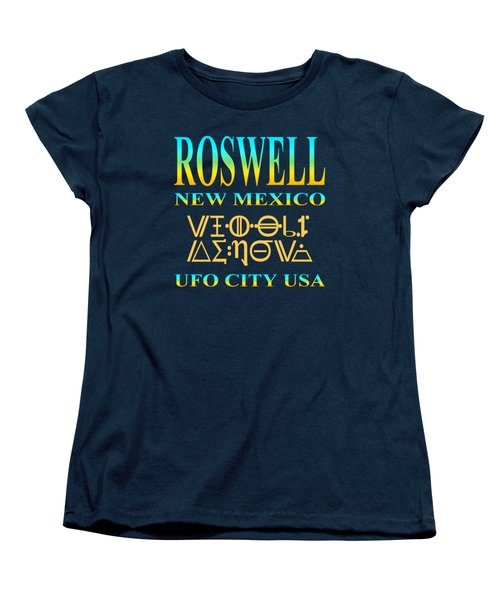 Roswell New Mexico - Ufo City Usa Tshirt Design Women's T-Shirt (Standard Cut) by Art America Gallery Peter Potter