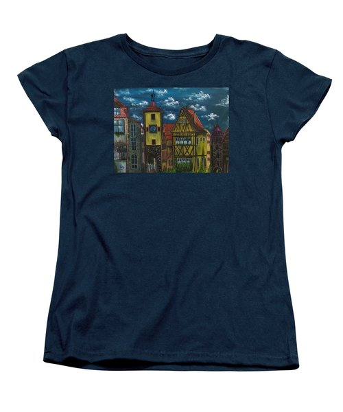 Women's T-Shirt (Standard Cut) featuring the painting Rothenburg Ob Der Tauber by The GYPSY And DEBBIE