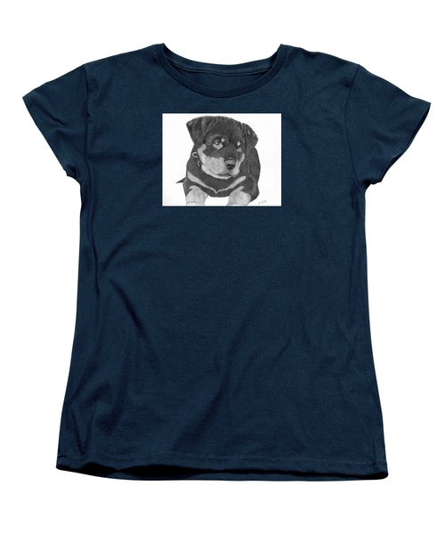 Women's T-Shirt (Standard Cut) featuring the drawing Rottweiler Puppy by Patricia Hiltz