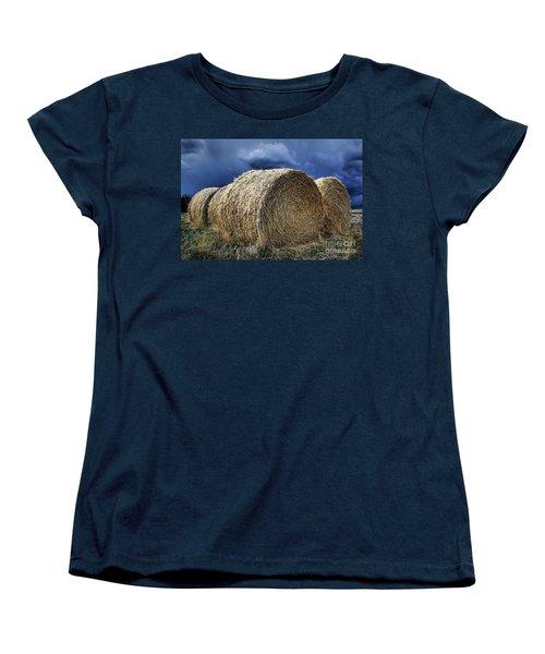 Women's T-Shirt (Standard Cut) featuring the photograph Round Bales by Brad Allen Fine Art