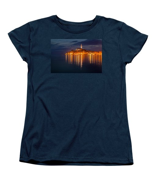 Women's T-Shirt (Standard Cut) featuring the photograph Rovinj By Night by Davorin Mance