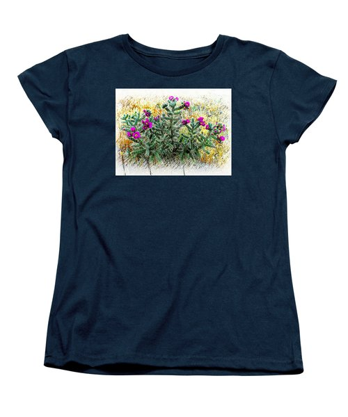 Women's T-Shirt (Standard Cut) featuring the photograph Royal Gorge Cactus With Flowers by Joseph Hendrix