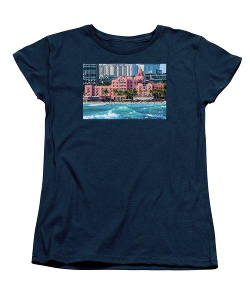 Women's T-Shirt (Standard Cut) featuring the photograph Royal Hawaiian Hotel Surfs Up by Aloha Art