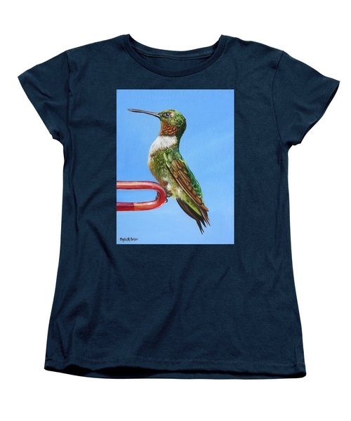 Ruby Throat Hummingbird  Women's T-Shirt (Standard Cut) by Phyllis Beiser