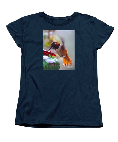 Rufus Hummingbird At The Feeder Women's T-Shirt (Standard Cut) by Chuck Flewelling