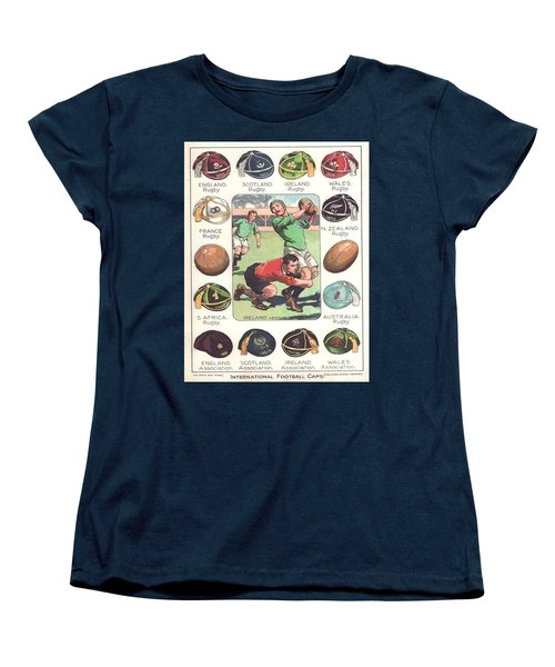 Women's T-Shirt (Standard Cut) featuring the painting Rugby Caps - Vintage by Pg Reproductions