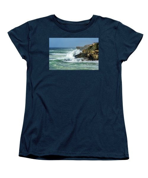 Women's T-Shirt (Standard Cut) featuring the photograph Rugged Coastal Seascape by Marion McCristall