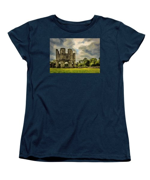 Women's T-Shirt (Standard Cut) featuring the painting Ruins Of Mellifont Abbey by Jeff Kolker