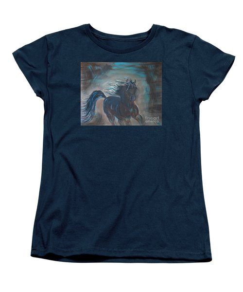 Women's T-Shirt (Standard Cut) featuring the painting Run Horse Run by Leslie Allen