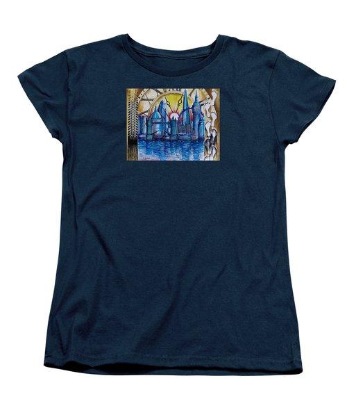 Women's T-Shirt (Standard Cut) featuring the painting Rush Hour In London by Geni Gorani