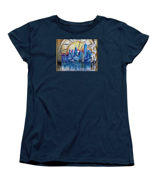 Women's T-Shirt (Standard Cut) featuring the painting Rush Hour In New York  by Geni Gorani