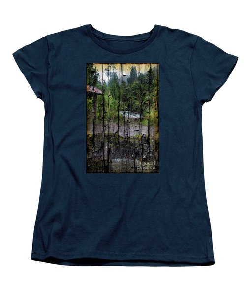 Rushing Cascade In The Andes - On Bark Women's T-Shirt (Standard Cut) by Al Bourassa