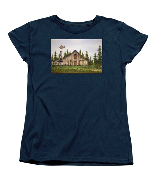 Women's T-Shirt (Standard Cut) featuring the painting Rustic Barn by James Williamson