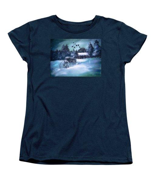 Rustic Winter Barn  Women's T-Shirt (Standard Cut)