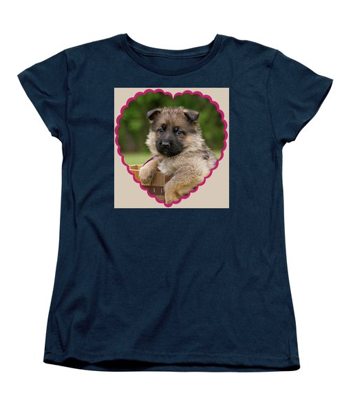 Women's T-Shirt (Standard Cut) featuring the photograph Sable Puppy In Heart by Sandy Keeton
