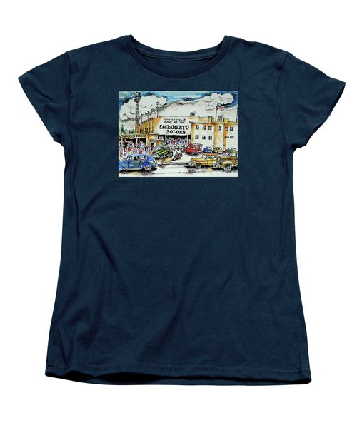 Women's T-Shirt (Standard Cut) featuring the painting Sacramento Solons by Terry Banderas