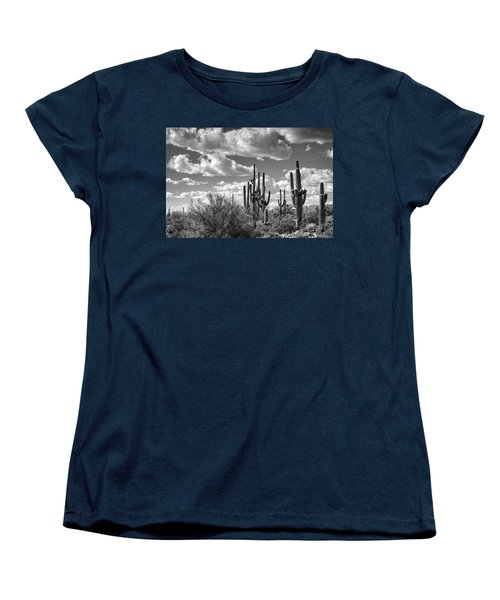Women's T-Shirt (Standard Cut) featuring the photograph Saguaro And Blue Skies Ahead In Black And White  by Saija Lehtonen