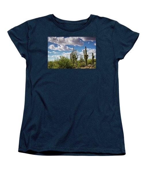 Women's T-Shirt (Standard Cut) featuring the photograph Saguaro And Blue Skies Ahead  by Saija Lehtonen