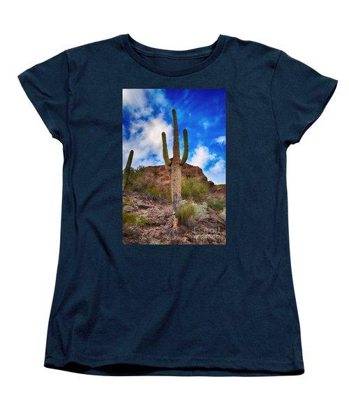 Saguaro Cactus Women's T-Shirt (Standard Cut) by Donna Greene