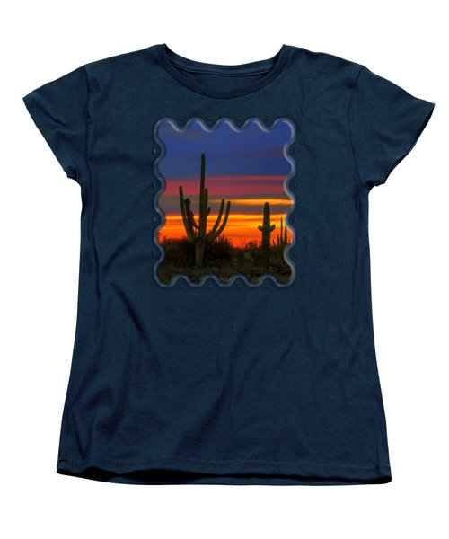 Saguaro Sunset V30 Women's T-Shirt (Standard Cut) by Mark Myhaver