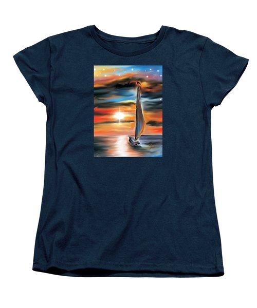 Sailboat And Sunset Women's T-Shirt (Standard Cut) by Darren Cannell