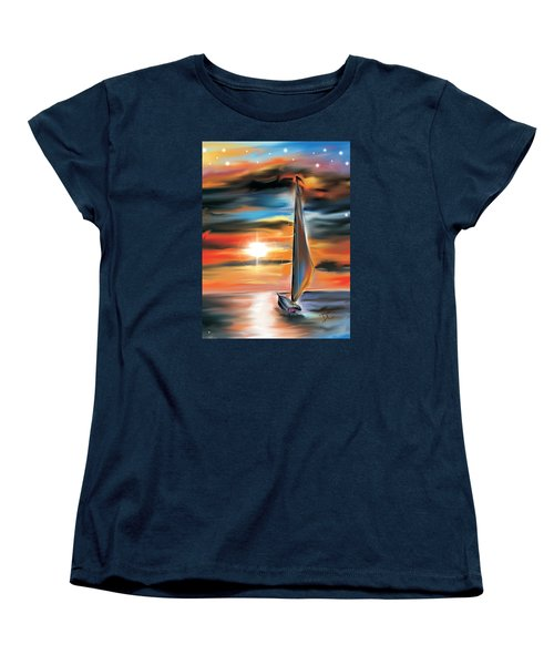 Sailboat And Sunset Women's T-Shirt (Standard Cut)