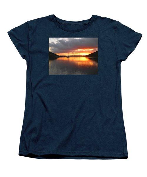 Sailboats At Sunrise In Puerto Escondido Women's T-Shirt (Standard Cut) by Anne Mott