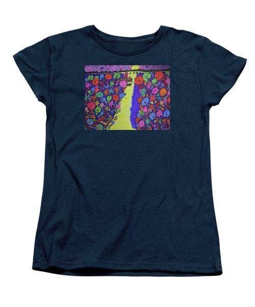 Women's T-Shirt (Standard Cut) featuring the drawing Sailing Along The Menominee Bay Shore. by Jonathon Hansen
