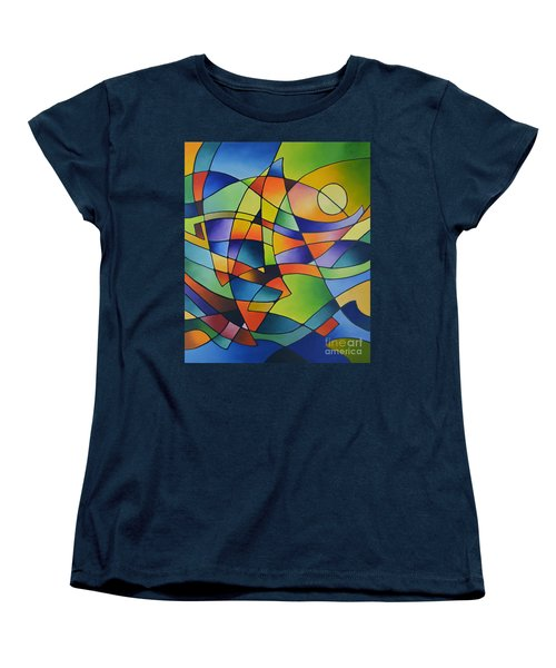 Sailing Away, Canvas Two Women's T-Shirt (Standard Cut) by Sally Trace