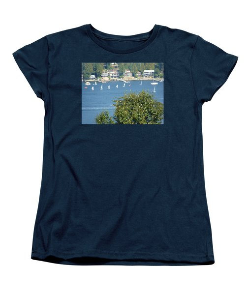 Women's T-Shirt (Standard Cut) featuring the painting Sailing by Rod Jellison