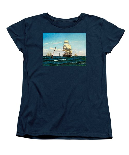 Women's T-Shirt (Standard Cut) featuring the painting Sailing Ships At Sea by Pg Reproductions