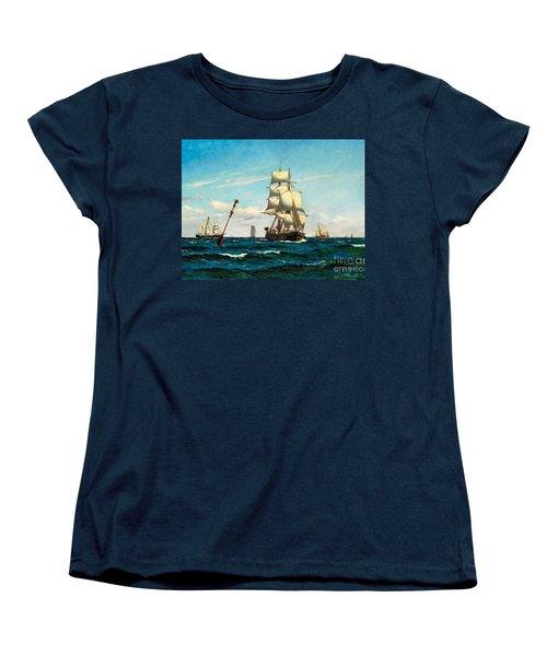 Sailing Ships At Sea Women's T-Shirt (Standard Cut) by Pg Reproductions