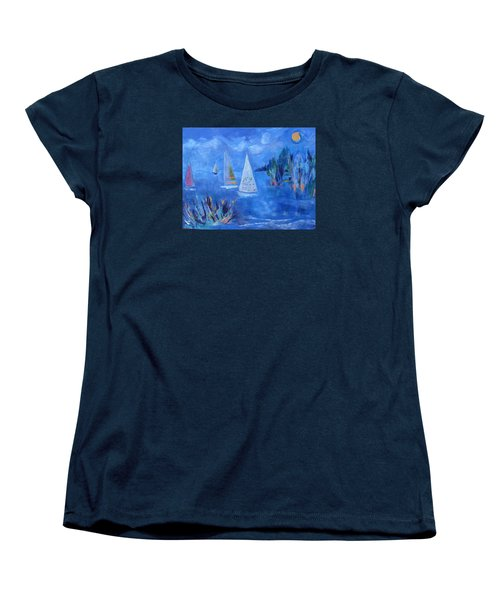 Women's T-Shirt (Standard Cut) featuring the painting Sails And Sun by Betty Pieper