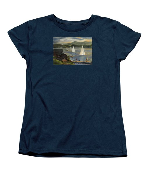 Sailing At Lake Morey Vermont Women's T-Shirt (Standard Cut) by Nancy Griswold