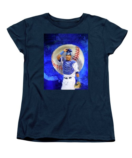 Women's T-Shirt (Standard Cut) featuring the mixed media Salvador Perez-kc Royals by Colleen Taylor