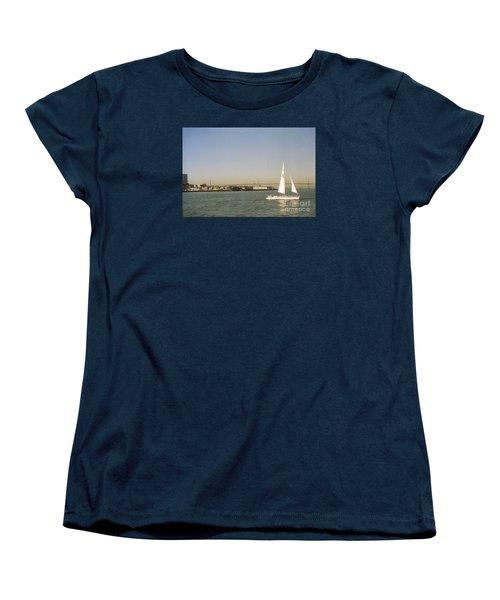 San Francisco Bay Sail Boat Women's T-Shirt (Standard Cut) by Ted Pollard