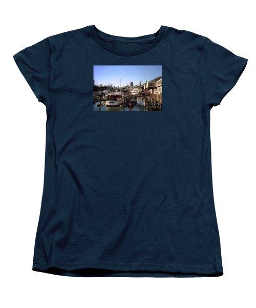 San Francisco Pier And Boats Women's T-Shirt (Standard Cut) by Ted Pollard
