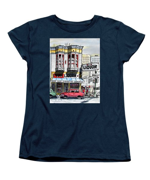 Women's T-Shirt (Standard Cut) featuring the painting San Francisco Street Corner by Terry Banderas